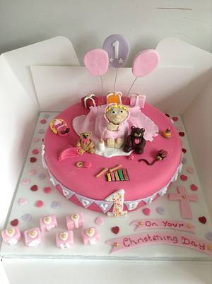 Combined first birthday / christening day cake  - Cake by Marie