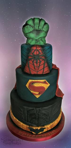 DC vs Marvel Super Hero Cake! - Cake by Spongecakes Suzebakes