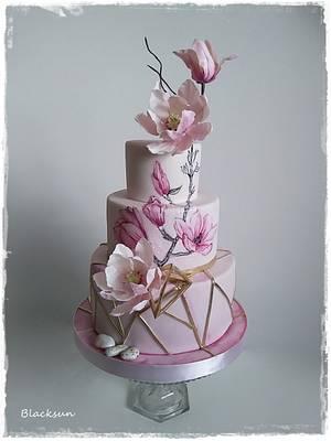 Wedding cake with magnolia flowers - Cake by Zuzana Kmecova