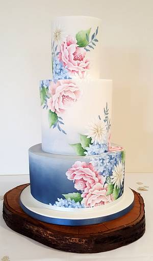 Grey/blue ombre with hand painted flowers - Cake by Emily Hankins Cakes
