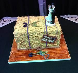 Hay bale wedding cake. - Cake by Lesley
