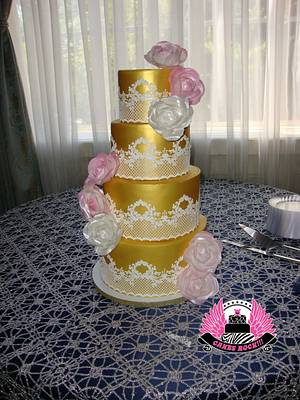 Gold & Lace Wedding - Cake by Cakes ROCK!!!