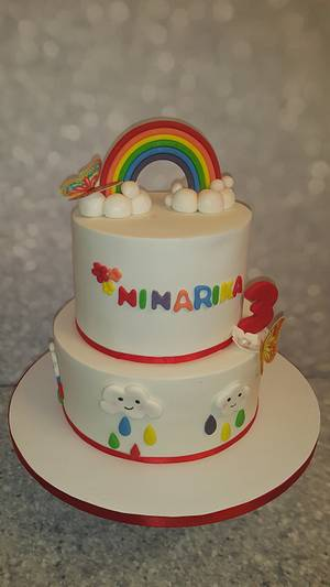 Rainbow and kawai clouds birthday cake  - Cake by Bella's Cakes