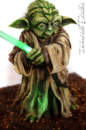 Yoda Cake for Star Wars : The Force Awakens - Cake by Vicki's Incredible Edibles