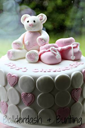 Teddy and booties christening cake - Cake by Ballderdash & Bunting