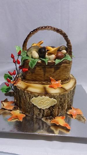 Basket of mushrooms - Cake by alenascakes