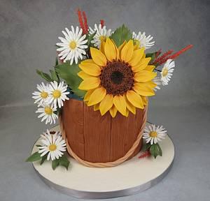 Sunflower & daisies bucket cake MBalaska 7/31/2016 - Cake by MBalaska