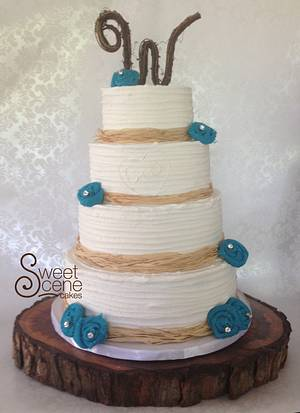 Teal and Rustic Get Married!? - Cake by Sweet Scene Cakes
