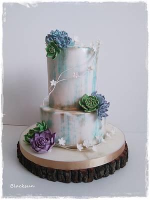Wedding cake with succulents - Cake by Zuzana Kmecova