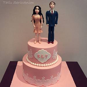 Engagement cake for B & T :) - Cake by CakeHeavenTr