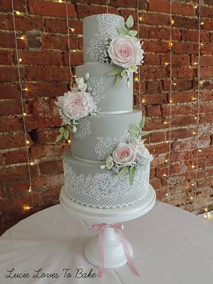 Grey and Pink Floral Lace Wedding Cake - Cake by LucieLovesToBake