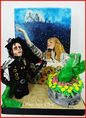 Edward Scissorhands Christmas at the movies collaboration - Cake by SweetSugarSem