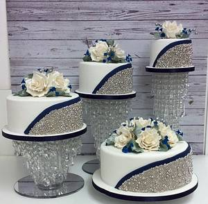 4 Tier Silver ball and navy blue wedding cake - Cake by Cakes o'Licious