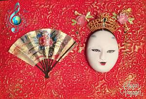 Noh Mask - Music around the world collab  - Cake by sugar voyager