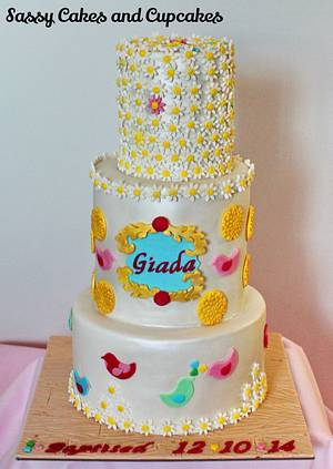 Daisies and Birdies - Cake by Sassy Cakes and Cupcakes (Anna)