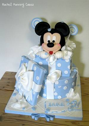 Mickey Mouse Chrstening Cake - Cake by Rachel Manning Cakes