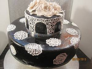 black anniversary cake with while sugarpaste roses - Cake by valerie mercer