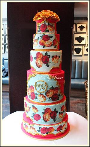 Red and gold Russian folk cake - Cake by Cakes by Rasa