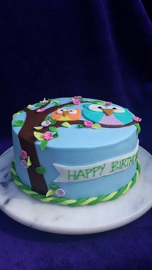 Owl Birthday cake - Cake by bakedwithloveonline