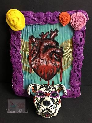 Bleeding heart and pitbull - Cake by Tisha Frank