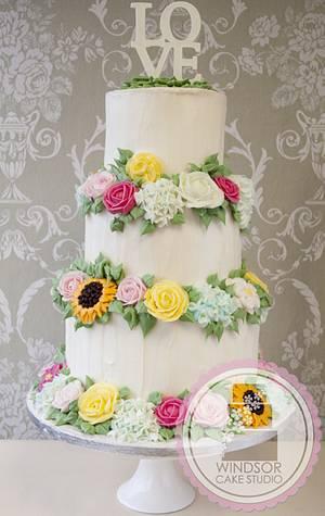 3 Tier Buttercream Flowers Wedding Cake by Windsor Cake Studio - Cake by Windsor Craft