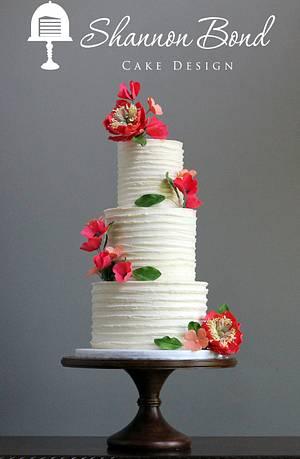 Rustic Buttercream Wedding Cake with Sugar Flowers - Cake by Shannon Bond Cake Design