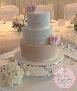 Ivory, Gold and Blush Pink Damask Wedding Cake - Cake by My Cute Cupcake