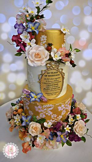 Golden Wedding Anniversary - Cake by Sweet Surprizes