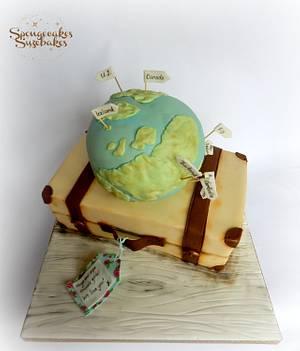 Travel Theme - Globe & Suitcase Cake - Cake by Spongecakes Suzebakes