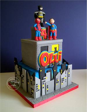 Superhero Cityscape - Cake by CakeyCake