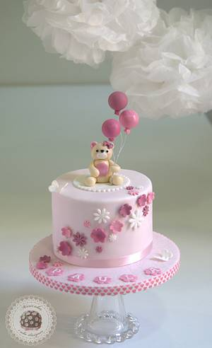 Teddy & Balloons Christening cake  - Cake by Mericakes