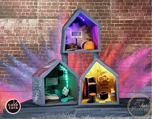 Cakerbuddies miniature dollhouse collab - Techno Den - Cake by TheCakeTalk