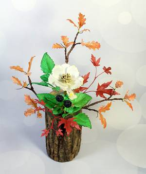 Autumn Leaves wafer paper flowers - Cake by Dragons and Daffodils Cakes
