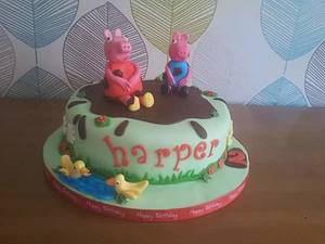 muddy puddles Peppa Pig Cake  - Cake by Truly Scrumptious Cakes by Christine