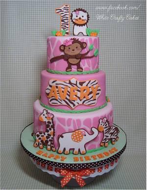 Pink Jungle/Safari First Birthday Cake - Cake by Toni (White Crafty Cakes)