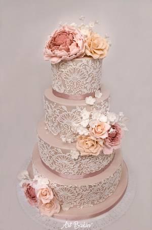 Lace Wedding Cake - Cake by Art Bakin'