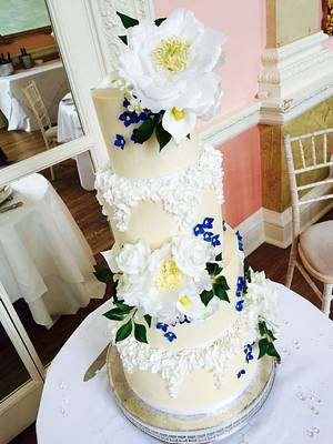 Buttercream and wafer paper wedding cake - Cake by The Rosehip Bakery