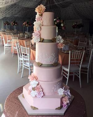 Blush floral & lace tiered wedding cake - Cake by CarlaKoala