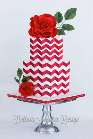 Red chevron cake with big rose - Cake by Bellaria Cake Design