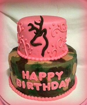 Camo and Pink Browning Birthday Cake - Cake by Angel Rushing