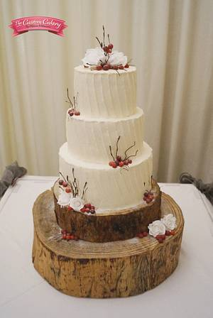 My first buttercream wedding cake! - Cake by The Custom Cakery