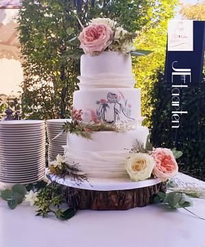 Lovely weddingcake with handpainted couple - Cake by Judith-JEtaarten