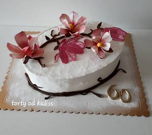 Birthday with magnolias - Cake by Kaliss