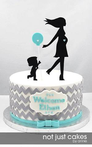 Chevron and Balloon Baby Shower Cake - Cake by Annie