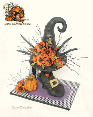 Halloween Collaboration - Witch Hat and Shoe Flower Arrangements - Cake by Karen Dodenbier