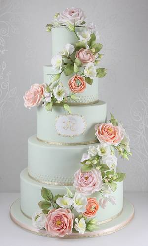 vintage country blooms wedding cake - Cake by The Fairy Cakery