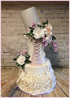 Wedding dress inspired wedding cake - Cake by Teraza @ T's all occasion cakes