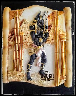 Anubis the god of afterlife..... Egypt Land of Mystery Collaboration - Cake by The Cookie Lab  by Marta Torres