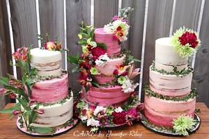Naked Cake Trio with matching cupcakes!!!!  - Cake by Cake! By Jennifer Riley