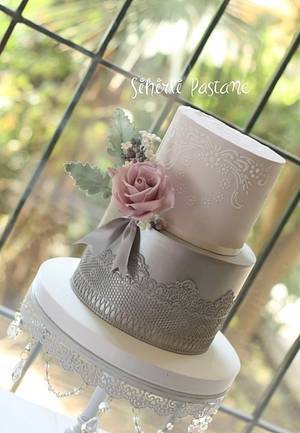 Silver Lace Cake - Cake by Sihirli Pastane
